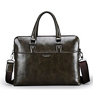 Men Bags PU Briefcase for Formal Office & Career All Seasons Black Dark Green Brown