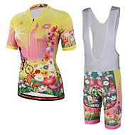 Miloto Short Sleeve Cycling Jersey with Bib Shorts - White Black Rainbow Bike Jersey Bib Tights Padded Shorts / Chamois Breathable 3D Pad Quick Dry Reflective Strips Back Pocket Sports Spandex