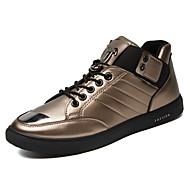 男性-アウトドア カジュアル アスレチック-PUレザー-フラットヒール-コンフォートシューズ カップルの靴-スニーカー-ブラック ホワイト ゴールド