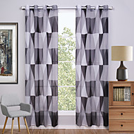 Grommet Top Two Panels Curtain Modern , Print Geometic Living Room Polyester Material Sheer Curtains Shades Home Decoration