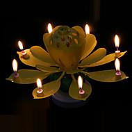 ダブルデッキ回転蓮の花音楽キャンドル休日の家の装飾