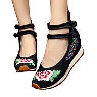 hesapli İşlemeli Ayakkabı-Kadın's Siyah, Kırmzı, Mavi Spor Dalları Yürüyüş Aktif Giyim Giyilebilir, Hava Alan, Kaymaz / Toka / Kanvas