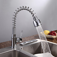 Moderne Art déco/Retro Modern Pull-out / Pull-down Standard Spout Hoch / High-Arc Mittellage Regendusche Mit ausziehbarer Brause