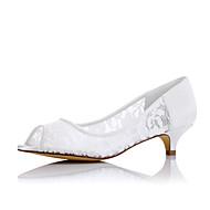 olcso -Kényelmes-Alacsony-Női cipő-Lapos-Esküvői Party és Estélyi Ruha-Szövet-Fehér