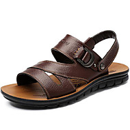 Masculino sapatos Pele Primavera Verão Outono Conforto Sandálias Água Para Casual Preto Castanho Escuro