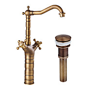 Contemporary / Modern Centerset Widespread with Ceramic Valve Single Handle One Hole for Antique Copper  Bathroom Sink Faucet