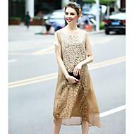 Χαμηλού Κόστους REVIENNE BAY®-Γυναικείο Καθημερινά Απλό Θήκη Φόρεμα,Μονόχρωμο Κοντομάνικο Στρογγυλή Λαιμόκοψη Μίντι Πολυεστέρας Άνοιξη Καλοκαίρι Κανονική Μέση