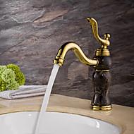 billige Rabatt Kraner-antikk seterett utbredt keramisk ventil enkelt håndtak ett hull ti-pvd, bad vask kranen badekar kraner