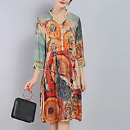 hesapli -Kadın Dışarı Çıkma Büyük Beden Sofistike Salaş Elbise Desen,¾ Kol Uzunluğu V Yaka Diz-boyu Turuncu İpek Polyester Bahar Yaz Normal Bel