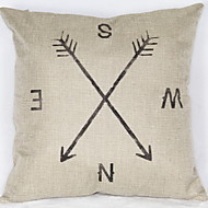 1Pcs Direction Arrow Pattern Flax Pillow Cover