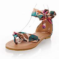 Žene Cipele Tkanina Ljeto / Jesen Sandale Ravna potpetica Okrugli Toe Mašnica / Vezanje / Cvijet Crn / Bijela / Plava