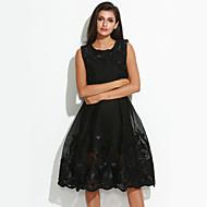 Mulheres Para Noite Vintage Sofisticado balanço Vestido - Pregueado, Bordado Altura dos Joelhos