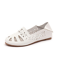 Women's Flats Comfort PU Spring Summer Casual Dress Comfort Hollow-out Flat Heel White Beige Flat