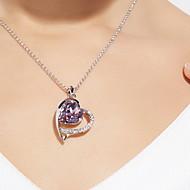 Kristalli Riipus-kaulakorut - Sterling-hopea Heart Roikkuva, Perus Hopea Kaulakorut Käyttötarkoitus Päivittäin, Kausaliteetti