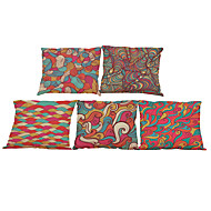 cheap Cushion Sets-5 pcs Linen Natural/Organic Pillow Case Pillow Cover, Solid Floral Plaid Textured Casual Beach Style Euro Bolster Traditional/Classic