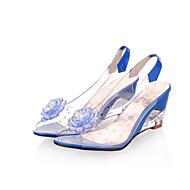 baratos Sapatos Femininos-Mulheres Sapatos Borracha Verão Sapatos clube Conforto Sandálias Salto Plataforma Peep Toe Pedrarias Apliques para Social Branco Preto