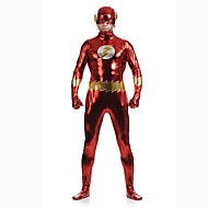 Shiny Zentai Suits Skin Suit Full Body Suit Super Heroes Adults' Cosplay Costumes Sex Red Patchwork Spandex Men's Women's Halloween / High Elasticity