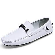 Men's Loafers & Slip-Ons Moccasin Driving Shoes Cowhide Summer Fall Casual Office & Career Walking Moccasin Driving Shoes Flat HeelWhite