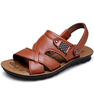 baratos Sapatos de Tamanho Pequeno-Homens Sapatos Pele Primavera Verão Outono Conforto Sandálias Tênis Anfíbio para Casual Escritório e Carreira Ao ar livre Castanho Claro