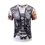 Masculino Camiseta Bandagem Casual Festa/Coquetel Moda de Rua Activo Punk & GóticasEstampado Poliéster Decote Redondo Manga Curta