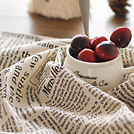 cheap Table Linens-50x70cm Cotton Linen Napkin English Retro Printed Newspaper Pattern Placemats Rectangle For Home Decoration
