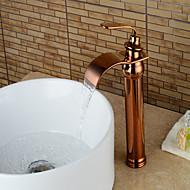 Moderne Centersat Vandfald Keramik Ventil Enkelt håndtag Et Hul Rose Guld, Håndvasken vandhane