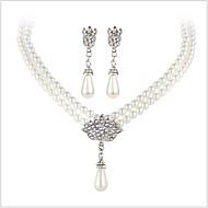 Krystal Smykkesæt - Perle, Imiteret Perle, Rhinsten Luksus, Brude Omfatte Sølv Til Bryllup Fest Daglig / Simuleret diamant