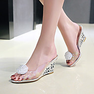 cheap Women's Sandals-Women's Shoes PVC Spring Summer Sandals Wedge Heel Peep Toe Flower for Casual Dress Party & Evening Gold Silver