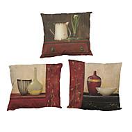 """sett med 4 retro møbler mønster trykt sengetøy pute deksel kreativ dekorasjon kvadrat (18 """"* 18"""")"""