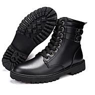 メンズ 靴 PUレザー レザーレット 冬 コンフォートシューズ コンバットブーツ フォーマルシューズ ブーツ ウォーキング ミドルブーツ ベックル 用途 カジュアル ブラック