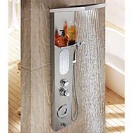 olcso -Kortárs Zuhany rendszer Vízesés Széleskörű Kézi zuhanyzót tartalmaz Kerámiaszelep Két lyuk Egy fogantyú két lyukat Rozsamentes acél,