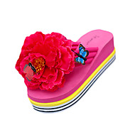 cheap Women's Slippers & Flip-Flops-Women's Shoes PU Summer Slippers & Flip-Flops Flat Heel Round Toe Flower for Outdoor Black / Yellow / Fuchsia