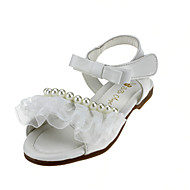 billige -60%-Jenter-Kunstlær-Flat hæl-Blomsterpike Sko-Flate sko-Bryllup Friluft Kontor og arbeid Formell Fritid Fest/aften-Rosa Hvit