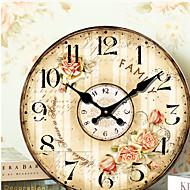 Tradicional Regional Retro Férias Música Família Relógio de parede,Redonda Madeira 34*34 Interior/Exterior Interior Relógio