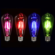 3W E26/E27 Lâmpadas de Filamento de LED ST64 4 COB 300-400 lm Rosa Vermelho Azul Verde K Regulável Decorativa AC 220-240 V