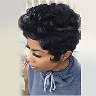 pörröinen lyhyt luonnon kiharat hiukset peruukki korkiton peruukki lämpöä turvallinen naisille 2017