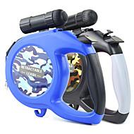 犬用品 リード LEDライト 調整可能/引き込み式 自動 カモフラージュ ナイロン ブラック ブルー