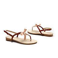 baratos Sapatos Femininos-Mulheres Sapatos Couro Ecológico Primavera / Verão Chanel Sandálias Sem Salto Ponta Redonda Laço Dourado / Bege / Marron / Festas & Noite