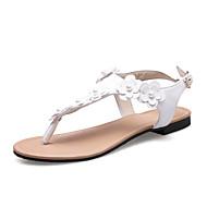tanie Small Size Shoes-Damskie Sandały Bez pięty Lato Jesień PU Formalne spotkania Impreza / bankiet Kwiat Płaski oncas White Black Różowy Płaski obcas