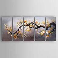 cheap Gallery Wall Art-Hand-Painted  Flowers Set of 5 Canvas Oil Painting With Stretcher For Home Decoration Ready to Hang