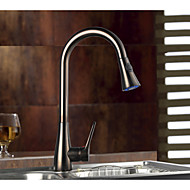Contemporary Antique Art Deco/Retro Pull-out/­Pull-down Standard Spout Tall/­High Arc Centerset Rain Shower Pullout Spray Thermostatic