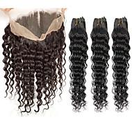 人毛 インディアンヘア 人間の髪編む ディープウェーブ 前後なし ヘアエクステンション 4個 ブラック