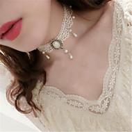Kort halskæde Halskædevedhæng Imiteret Perle Elegant Vintage Inspireret Hvid Lolita Tilbehør Ensfarvet Halskæde polyester Metal Halloween Kostumer