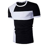 Heren Actief Patchwork T-shirt Katoen, Sport Kleurenblok Ronde hals Slank Wit L / Korte mouw / Zomer