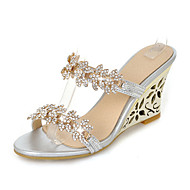cheap Women's Slippers & Flip-Flops-Women's Shoes Synthetic Summer Fall Slingback Sandals Wedge Heel Round Toe Rhinestone For Casual Dress Gold Silver