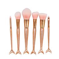 6 Brush Sets Rougebørste Øjenvippe Kam (Rund) Concealer-børste Vifte Børste Pudderbørste Foundationbørste Konturbørste Syntetisk Hår