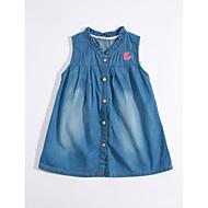 Djevojka je Pamuk Lan Jednobojni Dnevno Ljeto Kratkih rukava Haljina Karirani uzorak Plava