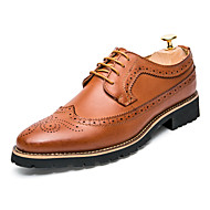 cheap Small Size Shoes-Men's Shoes Leather Spring Fall Formal Shoes Bullock shoes Gladiator Comfort Oxfords Stitching Lace Lace-up for Wedding Office & Career