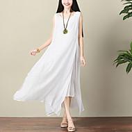 Feminino Solto balanço Vestido,Casual Férias Moda de Rua Temática Asiática Sólido Decote Redondo Longo Sem Manga Algodão Linho Verão