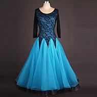 볼륨 댄스 드레스 여성용 성능 스판덱스 / 오간자 드레이핑 / 레이스 / 스플리싱 긴 소매 높음 드레스